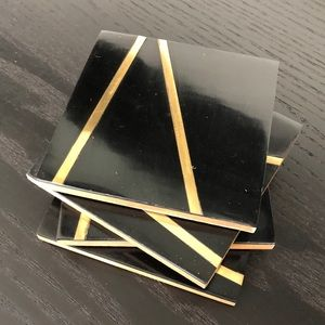 Black and Gold Inlaid Coasters NWT